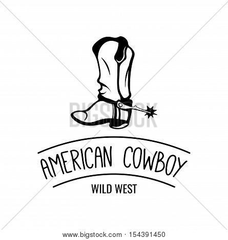 Old Cowboy Boot. Retro Wild West Shoe. Isolated on White Background. Wild West. Western. Vector illustration