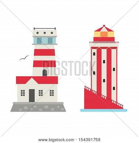 Vector set of cartoon flat lighthouses. Searchlight towers for maritime navigation guidance.