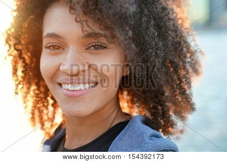 Portrait of beautiful mixed raced girl in Brooklyn heights promenade