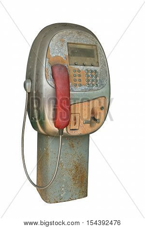 Public telephone isolated a on white background.
