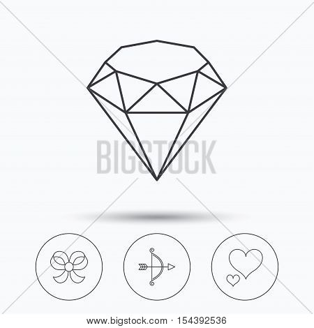 Love heart, brilliant diamands and bow-knot icons. Bow and arrow linear signs. Linear icons in circle buttons. Flat web symbols. Vector