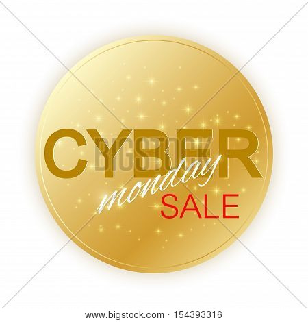 Cyber Monday Sale sign template. Promotional banner design. Golden label Cyber Monday