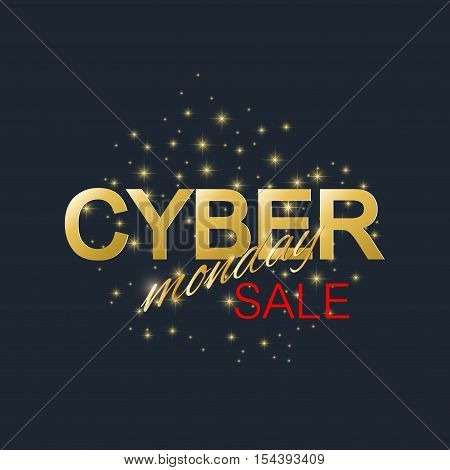 Cyber Monday Sale background. Golden label Cyber Monday Sale. Vector illustration