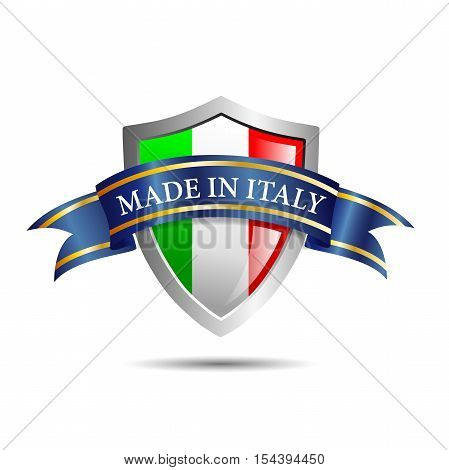 Vector shield made in Italy, isolated on white