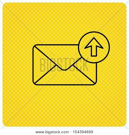 Mail outbox icon. Email message sign. Upload arrow symbol. Linear icon on orange background. Vector