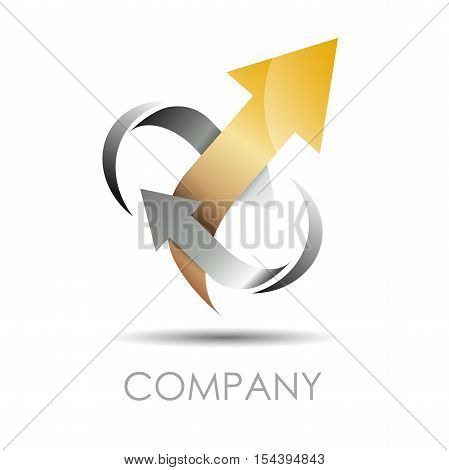 Vector logo  arrow in two arrows output, abstract shape