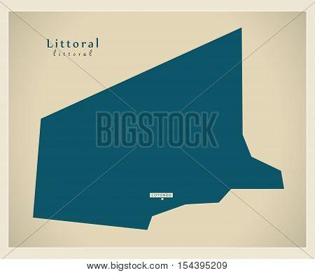 Modern Map - Littoral BJ Benin illustration vector