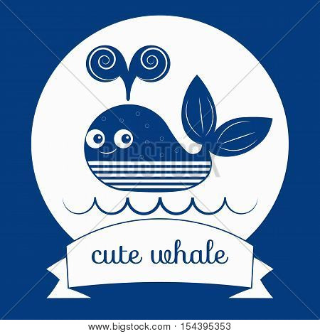 Cute whale. Vector of smiling baby blue whale. Icon logo retro character with animal and wave. Children's illustration greeting card banner flyer