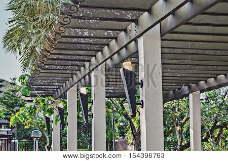 Roof battens in the garden green, harmony, home, infinite,