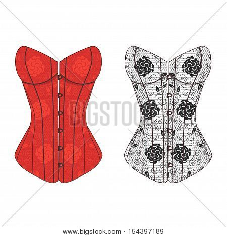 Corset Vintage Lace Set. Fashion Underwear Female. Vector illustration