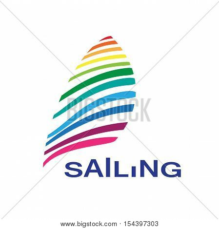Vector logo rainbow sailing in abstract shape