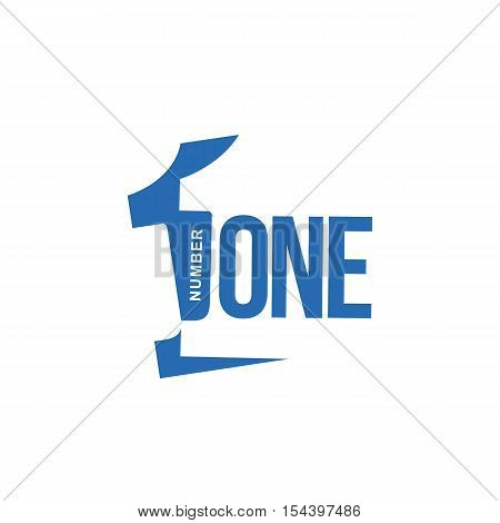 blue and white number one diagonal logo template, vector illustrations isolated on white background. Graphic logo with diagonal logo with three dimensional number one
