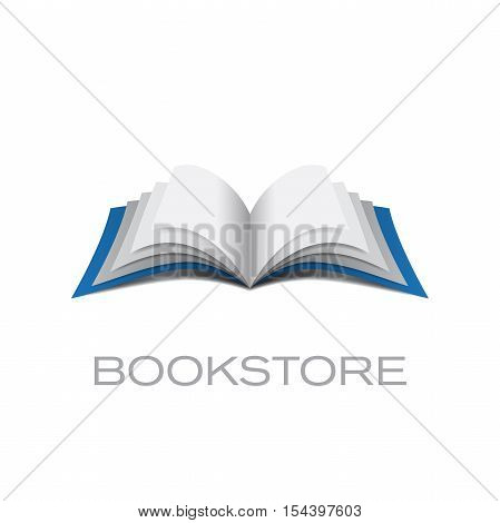 Vector logo bookstore isolated in abstract shape