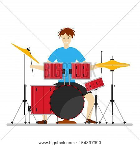Drum Player Man for Concerts, Parties, Clubs. Flat Design Style. Vector illustration