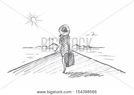Vector hand drawn Travel time concept sketch. Beautiful slim woman in dress, hat and on high heels going towards mountains and the Sun, holding suitcase in hand