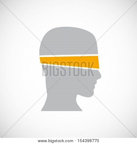 Vector logo man blindfolded in abstract shape