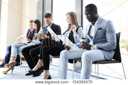 Stressful people waiting for job interview in office