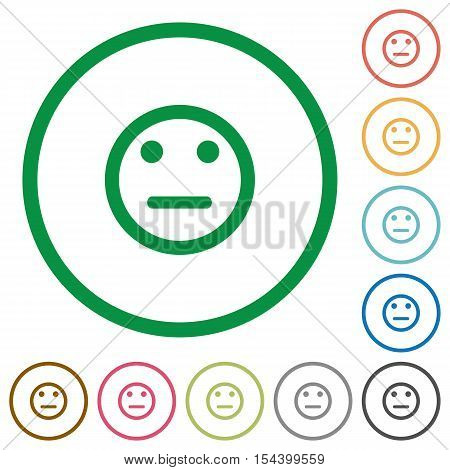 Neutral emoticon flat color icons in round outlines