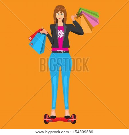 Happy cute and modern lady with shopping bags riding on self-balanced hoverboard. Illustration is with flat color style design.