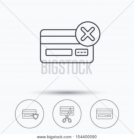 Bank credit card icons. Banking, protection and expired debit card linear signs. Linear icons in circle buttons. Flat web symbols. Vector
