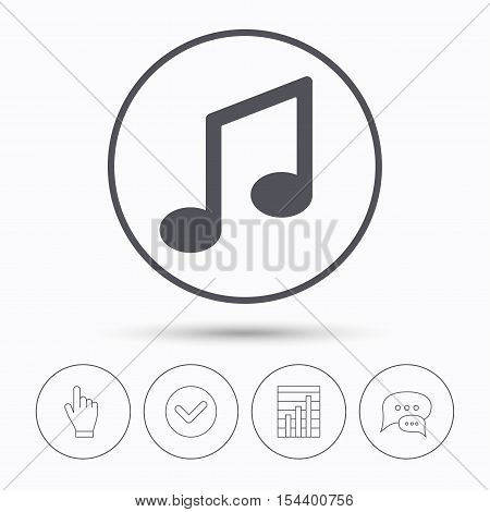 Music icon. Musical note sign. Melody symbol. Chat speech bubbles. Check tick, report chart and hand click. Linear icons. Vector