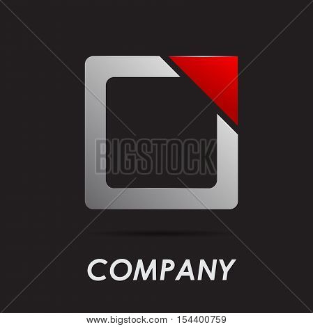 Vector logo abstract geometric shape on black
