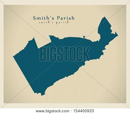 Modern Map - Smith's Parish BM Bermuda illustration vector