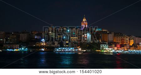 Istanbul, Turkey - October  12, 2016: View of city with Galata Tower in Istanbul