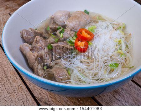 Thai stewed beef noodle with rice vermicelli