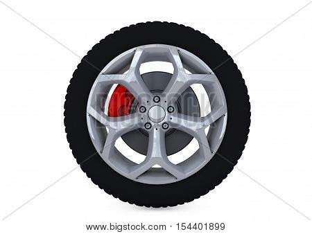 Car Wheel. Concept design. 3D render. shape, three, dimensional
