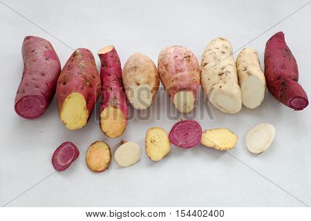 Diversity Sweet Potato On White Background
