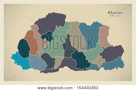 Modern Map - Bhutan with districts colored BT illustration vector