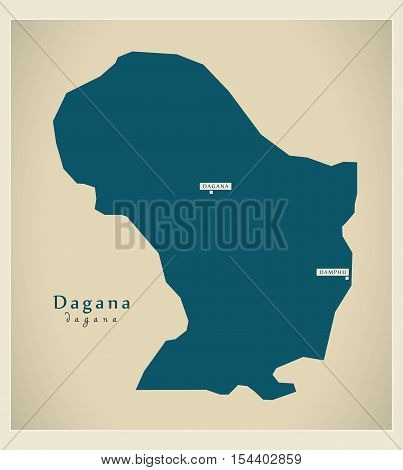 Modern Map - Dagana BT Bhutan illustration vector