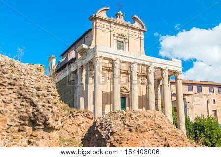 Temple of Antoninus and Faustina, adopted to church of San Lorenzo in Miranda, Forum Romanom (Roman Forum), Rome, Italy