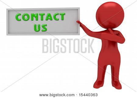 3D Character With Contact Us
