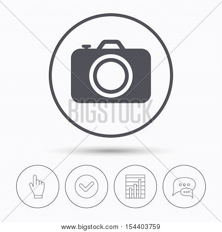 Camera icon. Professional photocamera symbol. Chat speech bubbles. Check tick, report chart and hand click. Linear icons. Vector