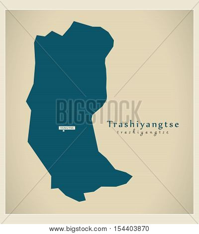 Modern Map - Trashiyangtse BT Bhutan illustration vector