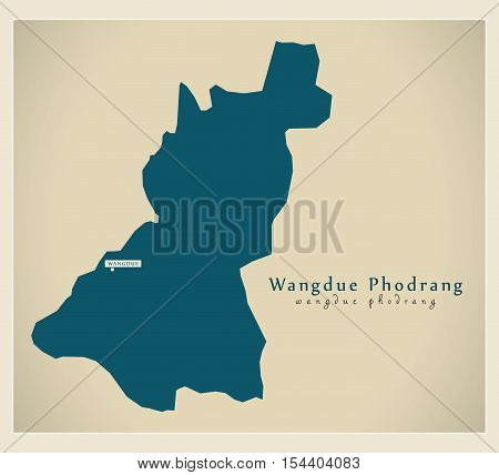 Modern Map - Wangdue Phodrang BT Bhutan illustration vector