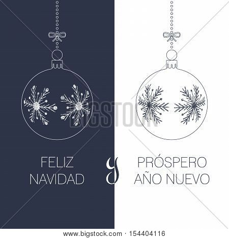spanish christmas and new year greeting card with textured christmas balls and text duotone spain holiday vector