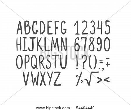 Hand drawn vector letters numbers mathematical symbols and punctuation marks