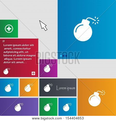 Bomb Icon Sign. Buttons. Modern Interface Website Buttons With Cursor Pointer. Vector