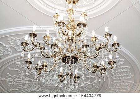 Brass chandelier with crystal. Chandelier ceiling lights.