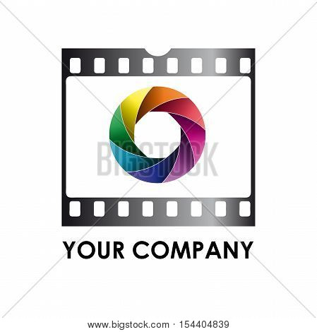 Vector logo photographer, aperture and roll, isolated illustration