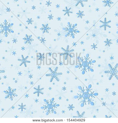Seamless Pattern of Snowflakes for Wrapping. Cold Winter Christmas Patterned Motif. New Year Background for Continuous Replicate. Delicate Snowy Texture for Wrapping-paper.