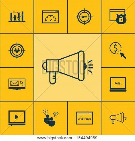 Set Of Marketing Icons On Digital Media, Media Campaign And Focus Group Topics. Editable Vector Illu