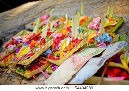 Colorful flowers for worship and benefaction of Balinese in Bali