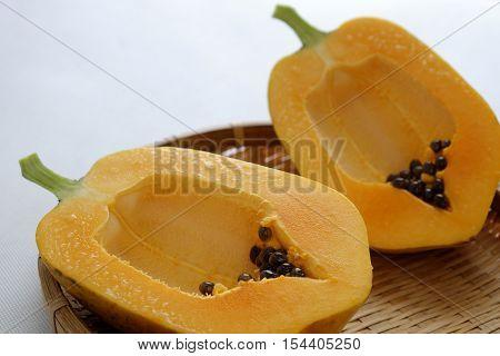 Papaya On White Background, Tropical Fruit