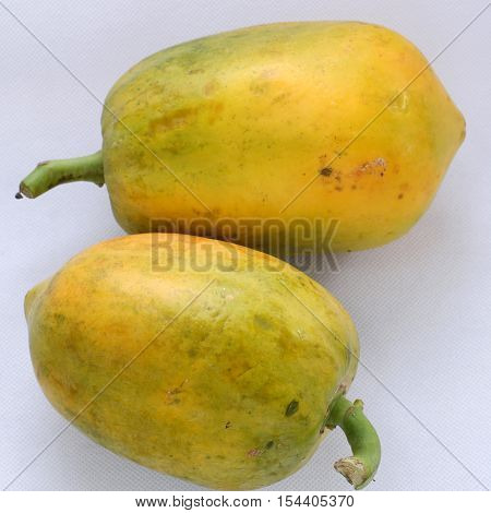 Papaya On White Background, Yellow Fruit