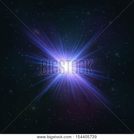 Abstract Shimmering Realistic Blue star. Cosmic Concept.