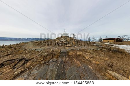 Aerial Photo Panorama Buddhist Stupa Of Enlightenment Ogoy On An Island In Lake Baikal